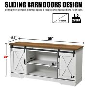 Tv Stand Sliding Barn Door Wood Media Console Table W/storage Cabinets Up To 65