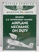 Old Rare Ande Rooney Porcelain Sign Airplane Mechanic Pitcairn Mail Wing Biplane