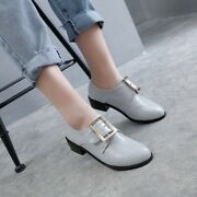 Fashion Ladies Round Toe Pumps Casual Buckle Block Low Heels Office Trendy Shoes