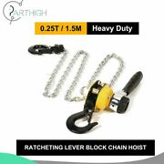 1x 0.25ton Ratcheting Lever Block Chain Hoist Come Along Pulley 5ft