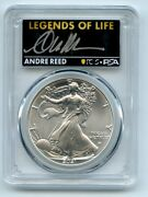 2021 1 American Silver Eagle Type 2 Pcgs Psa Ms70 Legends Of Life Andre Reed