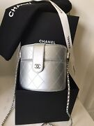 Vanity Bag Case Silver Quilted Clutch On Chain Round Crossbody Leather