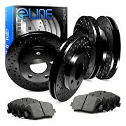 For Ford F-450 Super Duty Front Rear Black Drilled Brake Rotors+semi-met Pads