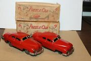 Two Vintage Kosuge Tin Wind Up Puzzle Cars Made In Occupied Japan With Boxes