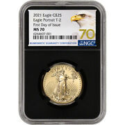 2021 American Gold Eagle Type 2 1/2 Oz 25 Ngc Ms70 First Day Issue 70 Black