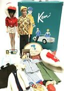 Vintage 1960s Mattel Barbie And Ken Dolls Teal Case W/ Clothes And Accessories Lot
