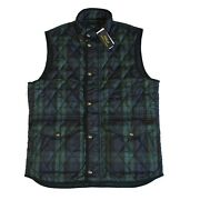 Polo Mens Black Watch Tartan Leather Iconic Quilted Vest Jacket Nwt