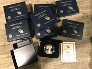 2013-w 1 Oz Proof Silver American Eagle Each With Box And Coa 5 Coin Lot 5oz