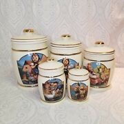 1990s Hummel Canister Collection 5 Airtight Vintage Coffee Cookie Flour Jars