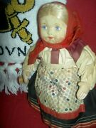 Charming Antique, Russian Stockinette Cloth Labeled Soviet Union 10 Girl Doll