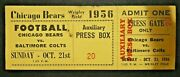 1956 Chicago Bears Vs Baltimore Colts Football Ticket Johnny Unitas Rookie Year