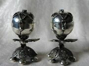 Russian Imperial Sterling Silver 84 Jewish Burning Essence Set Of 2 Pots Antique