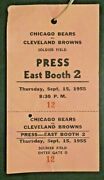 1955 Chicago Bears Vs Cleveland Browns Football Ticket