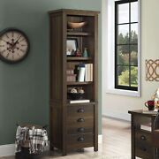 Better Home And Gardengranary Modern Farmhouse 72 Tower Bookcase, Aged Brown Ash