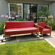 Mcm Retro Danish Red Leather Wood Sofa Couch + Chair Midcentury Nail Head Trim