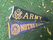2 Vintage 1950s Blue And Gold Notre Dame University And Army Souvenir Felt Pennant