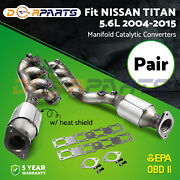 Fit Nissan Titan 5.6l 2004-2015 Manifold Catalytic Converters Pair Of Both Side