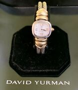David Yurman Double Cable Classic Ladys Watch 18k Y/g And Sterling Silver Mop Dial