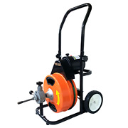 Electric Drain Snake Auger 100and039x7/16 Sewer Machine Power Feed 5 Cutters