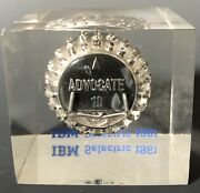 Vintage 1961 Ibm Selectric Typeface Element Advertising Lucite Cube Paperweight