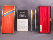 Parker Vintage 75 L4k G.f. Fountain Pen And Pencil Set In Box-new Old Stock