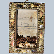 Antique Victorian 19c Miniature Seashell Frame Remember The Maine 2