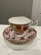 Royal Albert Old Country Roses Footed Cup Saucer Ruby Celebration Pink Chintz
