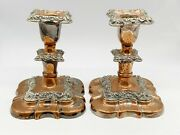 Antique Worn Copper - Silver Plate 5 Candlesticks Candle Holders Sticks Pair