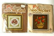 Lot Of 2 New Jiffy Needlepoint Kits Lace Nosegay Green And Orange Thistle Basket