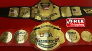 Nwa Us Tag Team And Wcw Us Championship Belt Real Leather 4mm Brass Adult Size