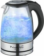 Megachef Stainless Steel Light Up Tea Kettle 1.7l Clear Glass New Freeship