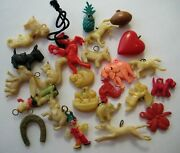 1940and039s Vintage Cracker Jack Celluloid Charm Premium Toy Prize Lot Of 25 2