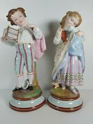 Large Pair Of Continental Boy And Girl Figurines, Appr.37cm Tall