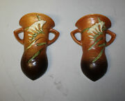 Antique Pair Of Freesia Roseville Pottery Wall Pockets