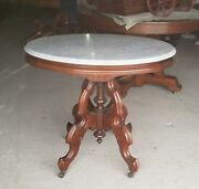 Antique Victorian Oval Shaped Marble Top Walnut Parlor Table