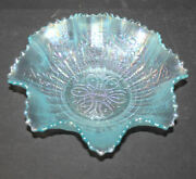 Antique Carnival Glass Bowl – Hearts And Flowers – Ice Blue – Northwood – 8 1/2″