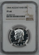 1964 Proof Kennedy Half Dollar 50c Accent Hair Ngc Certified Pf 66 Proof 015