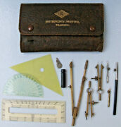 B.w.c London Vintage Instruments Training Technical Drawing Set In Leather Case