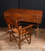 Leather Campaign Desk And Chair Set Writing Table Luggage Office Furniture