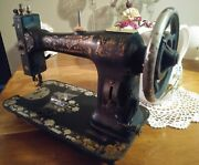 Antique White Rotary Sewing Machine Head No Belt For Parts Repair As Is