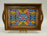 Beautiful Vintage Hand Painted Large Wood Tray With Sides Handles 18 X 13
