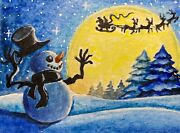 Watercolor Painting Cold Winter Snow Christmas Snowman Santa Reindeer Aceo Art