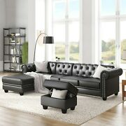 116 Chesterfield Sectional Sofa Set Pu Leather 4-seat Living Room L-shape Couch