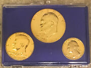 1776-1976 Us Bicentennial 3-gold Plated Coin Set- Beautifully Set In Case