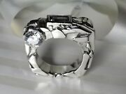 Custom Designed Rock Solid Silver Ring Size 10 1/2