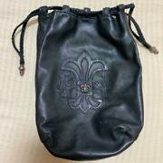 Chrome Hearts All Leather Pouch Drawstring Purse Accessory Case