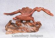 Hand Carved Eagle And Snake Statue Carving Bird Reptile Battle