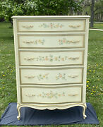 Custom By Drexel 31175-1 Touraine Collection 1156 Vintage Hand Painted Floral