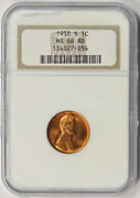 1938-s Lincoln Wheat Penny 1c Ms 66 Rd Red Ngc