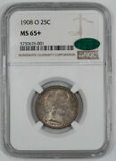 1908 O Barber Quarter 25c Ngc And Cac Certified Ms 65+ Mint State Unc Plus 001